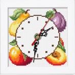 Vyšívací sada s mulinkou, hodinami a rámečkem - Hodiny s ovocem