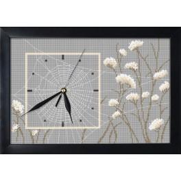 Vyšívací sada s mulinkou, hodinami a rámečkem - Hodiny s pavučinou