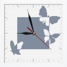 Vyšívací sada s mulinkou, hodinami a rámečkem - Hodiny s motýly