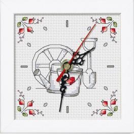 ZGR 8680-05 Vyšívací sada s mulinkou, hodinami a rámečkem - Květiny ze zahrady