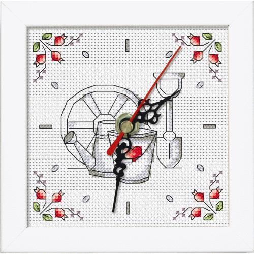 Vyšívací sada s mulinkou, hodinami a rámečkem - Květiny ze zahrady
