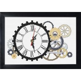 Vyšívací sada s mulinkou, hodinami a rámečkem - Steampunkové hodiny