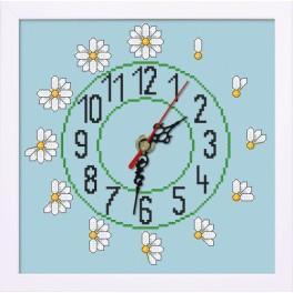 ZGR 8831 Vyšívací sada s mulinkou, hodinami a rámečkem - Hodiny se sedmikráskami