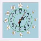 Vyšívací sada s mulinkou, hodinami a rámečkem - Hodiny se sedmikráskami