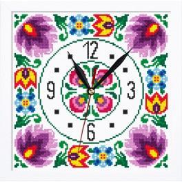 Vyšívací sada s mulinkou, hodinami a rámečkem - Hodiny v etnickém stylu II