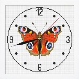 Vyšívací sada s mulinkou, hodinami a rámečkem - Hodiny s motýlem