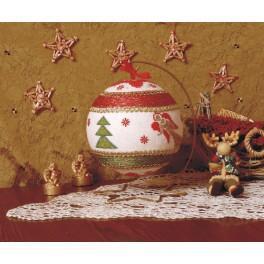 Vyšívací sada - Vánoční koule s andílky