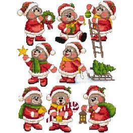Vyšívací sada - Ozdoby na stromeček - Vánoční medvídcí