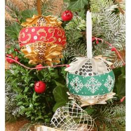 Vyšívací sada - Vánoční ozdoby - koule s flitry