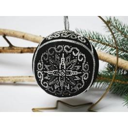 Vyšívací sada s mulinkou a vánoční ozdobou - Koule – Elegantní čerň