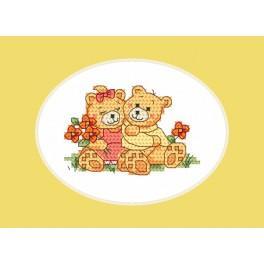 Vyšívací sada - Přání - Roztomilý medvídci