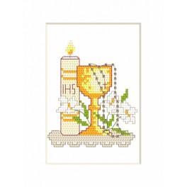 Vyšívací sada - Přijímání Karta - Svíčka a pohár