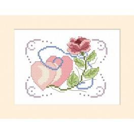 Vyšívací sada - Svatební přání - Růže a dvě srdíčka