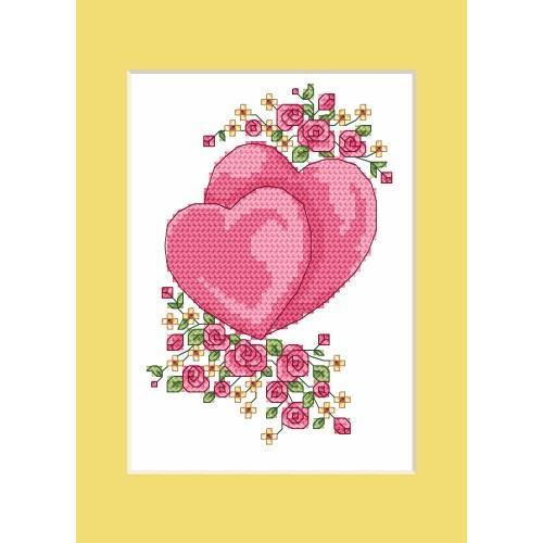 ZU 4984 Vyšívací sada - Svatební přání - Svatební srdíčka