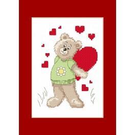 Vyšívací sada - Valentýnské přání - Medvídek se srdíčkem