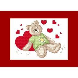 Vyšívací sada - Valentýnské přání - Spící medvídek