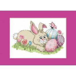 Vyšívací sada - Velikonoční přání - Zajíček s kraslicemi