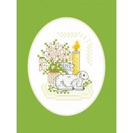 Vyšívací sada - Velikonoční přání - Beránek s praporkem