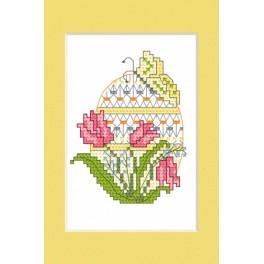 Vyšívací sada - Velikonoční přání - Velikonoční vajíčko s tulipány