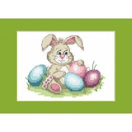 Vyšívací sada - Velikonoční přání - Veselý zajíček