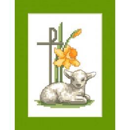 Vyšívací sada - Velikonoční přání - Velikonoční beránek