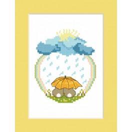 Vyšívací sada - Přání - Zajíčci v dešti