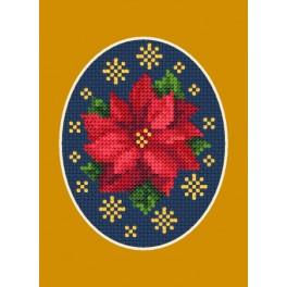 Vyšívací sada - Vánoční přání - Vánoční hvězda s hvězdičkami