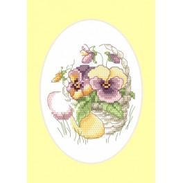 Vyšívací sada - Velikonoční přání - Macešky