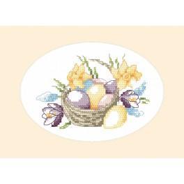 Vyšívací sada - Velikonoční přání - Košík vajec
