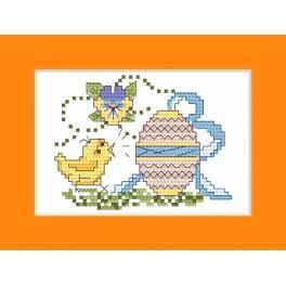 Vyšívací sada - Velikonoční přání - Kuře s kraslicí