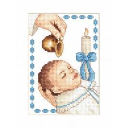 ZI 4925-02 Zestaw z muliną, koralikami i kartką - Kartka - Chrzest chłopczyka