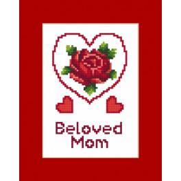 ZI 8473 Zestaw z muliną, koralikami i kartką - Kartka – Dzień Matki