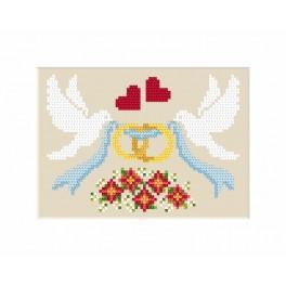 ZI 8474 Zestaw z muliną, koralikami i kartką - Kartka – Gołąbki z obrączkami