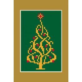 ZI 4948-02 Zestaw z muliną, koralikami i kartką - Kartka świąteczna - Błyszcząca choinka