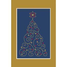 ZI 4948-01 Zestaw z muliną, koralikami i kartką - Kartka świąteczna - Choinka z gwiazdkami