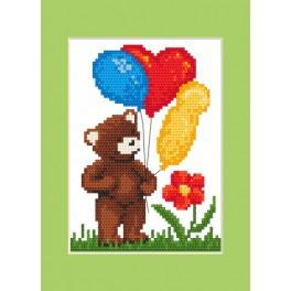 ZI 8421 Zestaw z muliną, koralikami i kartką - Kartka urodzinowa - Miś z balonikami