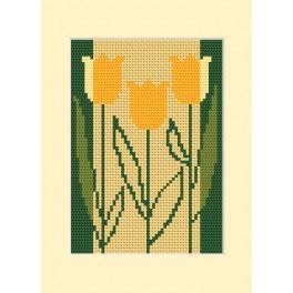 ZI 8413 Zestaw z muliną, koralikami i kartką - Kartka urodzinowa - Trzy tulipany