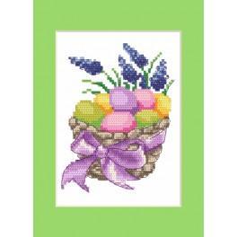 ZI 4916 Zestaw z muliną, koralikami i kartką - Kartka wielkanocna - Wielkanocne pisanki