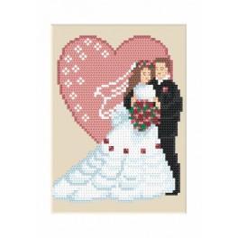 ZI 4906 Zestaw z muliną, koralikami i kartką – Kartka ślubna
