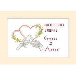 Vyšívací sada - Svatební přání - Dvě holubice