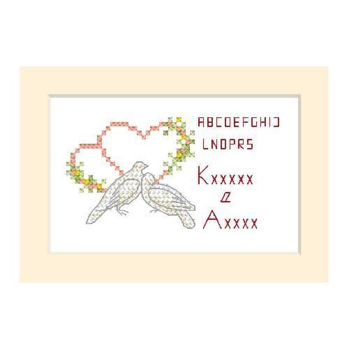 ZU 2102 Vyšívací sada - Svatební přání - Dvě holubice