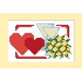 Vyšívací sada - Svatební přání - Dvě srdce