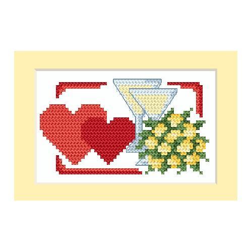 ZU 4670-01 Vyšívací sada - Svatební přání - Dvě srdce