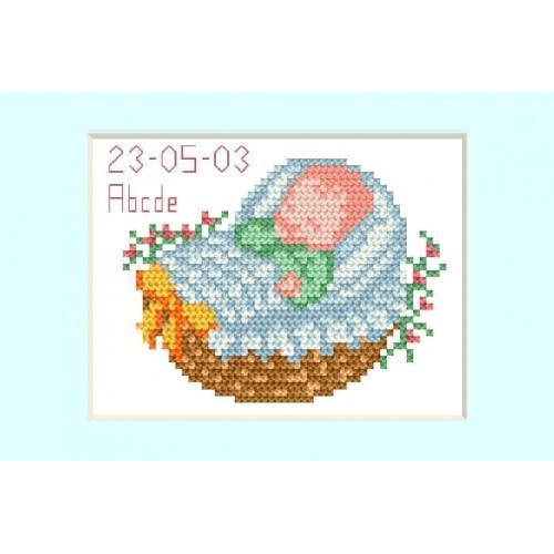 ZU 2005-02 Vyšívací sada - Přání - Den narození - Modry