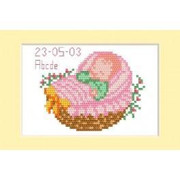 ZU 2005-01 Vyšívací sada - Přání - Den narození - Růžový kočárek