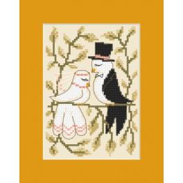 Vyšívací sada - Svatební přání - Zamilované holubice