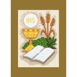 Vyšívací sada - Přijímání Karta - Bible a klasy