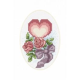 Vyšívací sada - Svatební přání - Srdičko