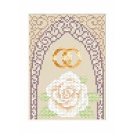 Vyšívací sada - Svatební přání - Zlaté prstýnky