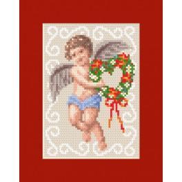 Vyšívací sada - Vánoční přání - Pohlednice s andílkem